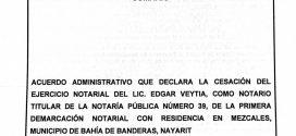 Retiran Notaría en Mezcales a Edgar Veytia